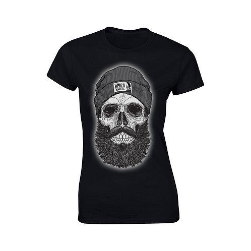 Ladies fitted tee Beanie Skull