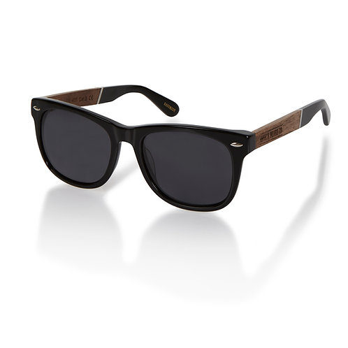 Deluxe Walnut and Black Sunglasses