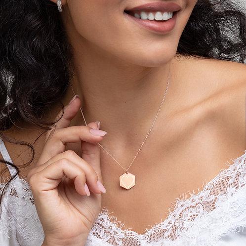 LOVE, Engraved Silver Hexagon Necklace