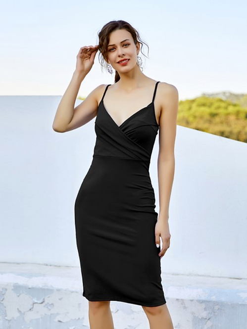 SLIM FIT MIDI in BLACK