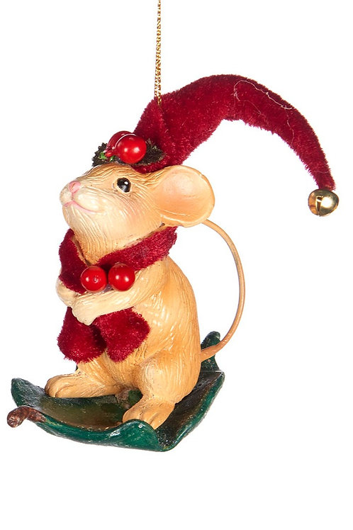WOODL.MOUSE W/LEAF BASE ORN ASS/2 RD/GRN 9CM