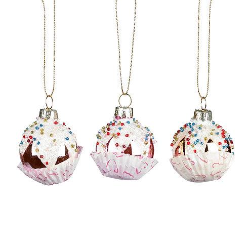 Set de 3 pièces CUPCAKE white / pink  diam. 4,5CM