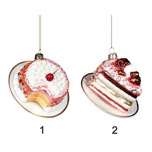 GLSS CAKE/PIE ON PLATE ORN ASS/2 PNK/WH 10CM