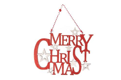 SUSP MERRY CHRISTMAS BOIS ROUGE 29X1X35