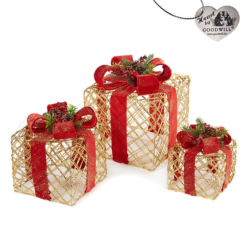 OPEN GIFT BOX W/BOW GLD/RD 30/23/18CM