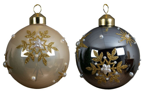 Boule verre flocon & perles