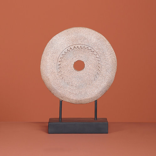 Millstone on metal pole, cream Height 47cm  Stone 35cm