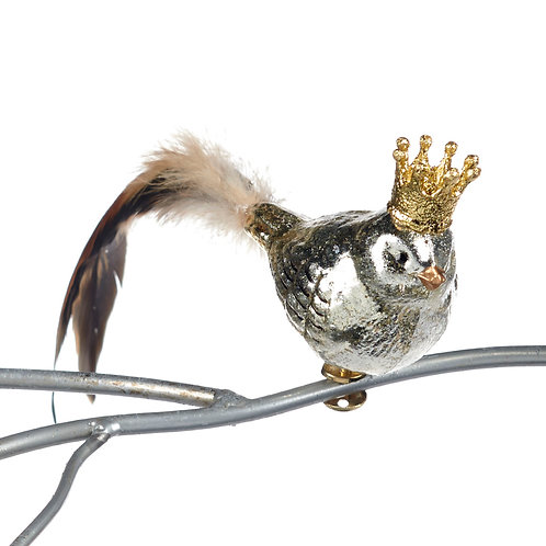 GLSS FEATH.BIRD W/CROWN ON CLIP SLV/BRWN 23CM
