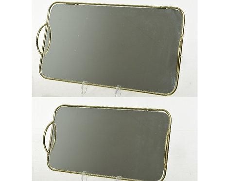 plateau rond miroir a/poignee