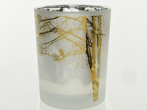 Photophore en  verre décor Arbre & Oiseau