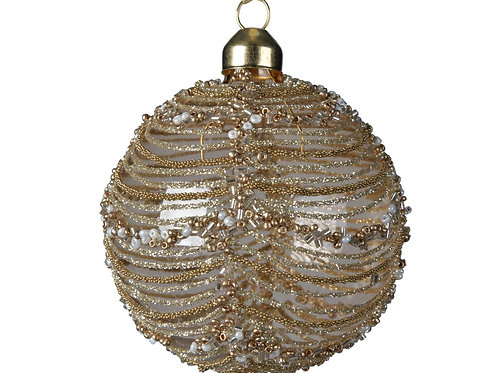 Boule en  verre perles & rayures Gold