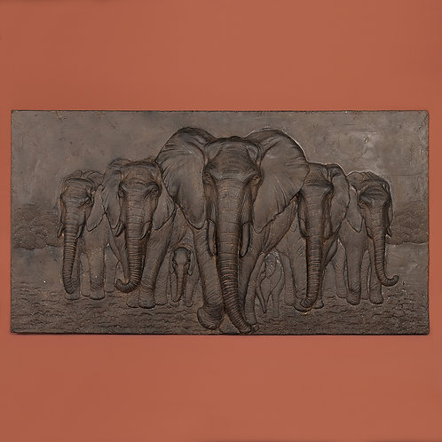 Elephant wall art, silver, 52x100cm