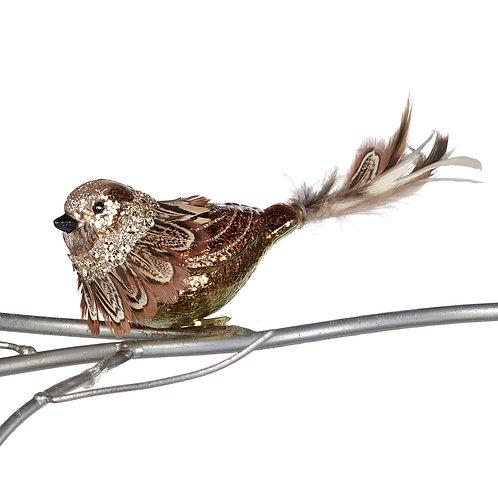 GLSS FEATH.BIRD ON CLIP BRWN/COP 19CM