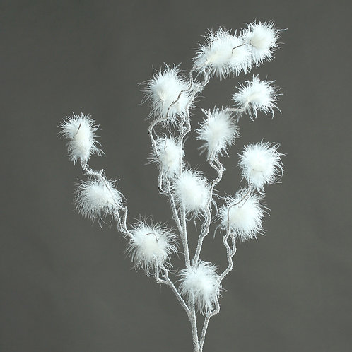 Feather spray, white, 110 cm