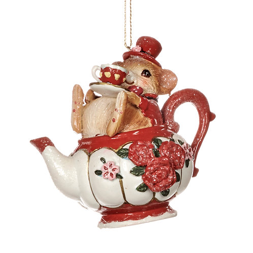 MOUSE IN TEAPOT ORN RD/WH 8,5CM