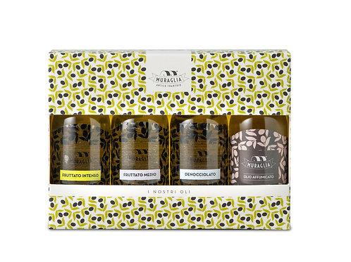 Set de 4 Huiles d'olives Aromatisées MURAGLIA SET ESSENZA 4 X 50 ML
