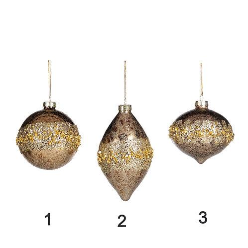 Boule de Noël en Verre à suspendre Ø 8CM Gold  8CM