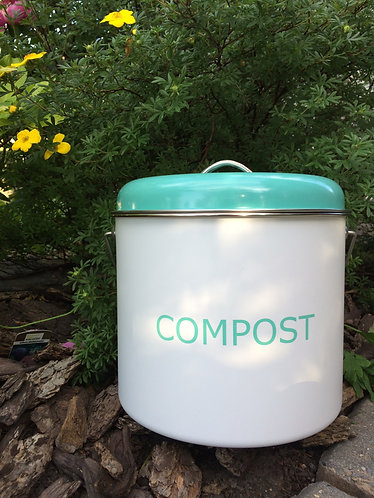 Compost Bin 3 Liter - White with green lit/Grey
