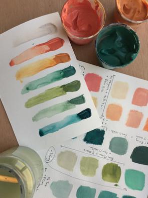 mixing paint palette colours, colour swatches