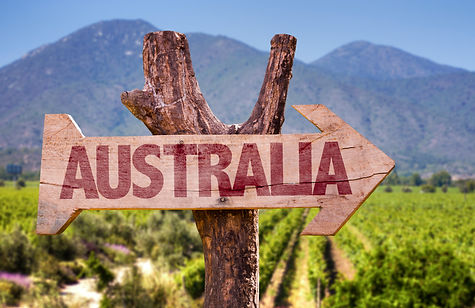 Australia wooden sign with winery backgr