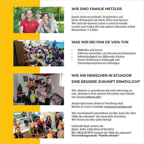 Flyer von Senkorn | Familie Metzler bei Pan de Vida | Ecuador