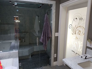 frameless shower glass sandblast door.jp