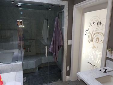 frameless shower glass sandblast door.jp