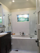 frameless shower glass with leaded glass