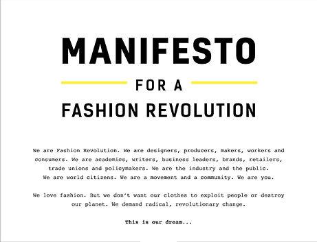 Fashion revolution, manifesto