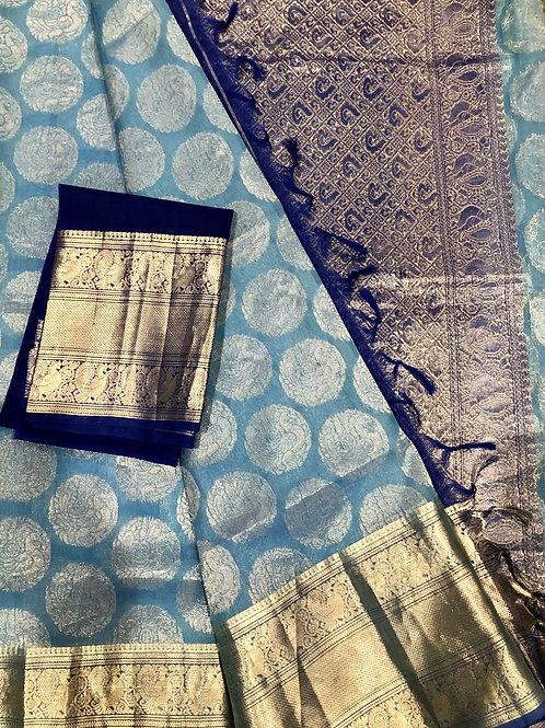 Sky Blue Kora Silk