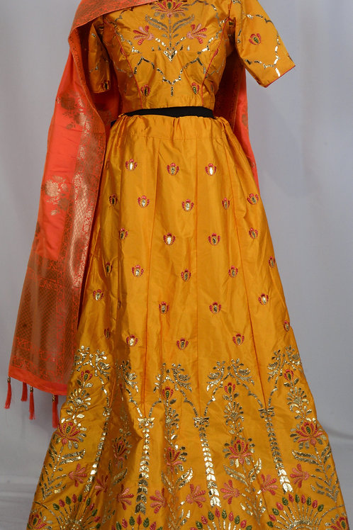 Golden Yellow Benarasi Lehenga