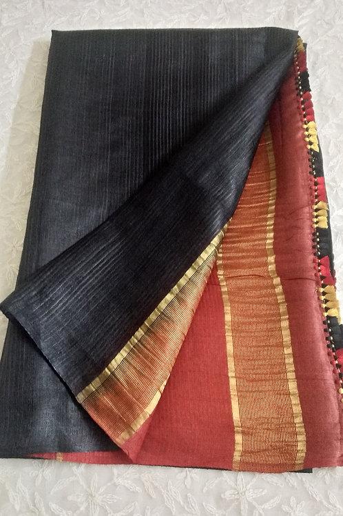 Ethnic Woven Brownish Black Tussar Silk