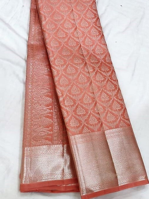 Salmon Colored Kanchipuram