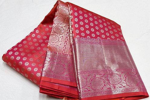Cherry Red Kanchipuram