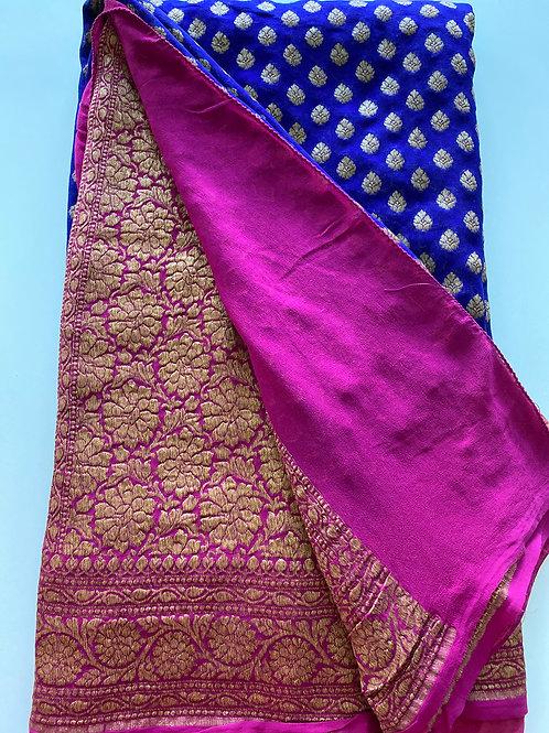 Banarasi Style Royal Blue Sareewith Pink Border