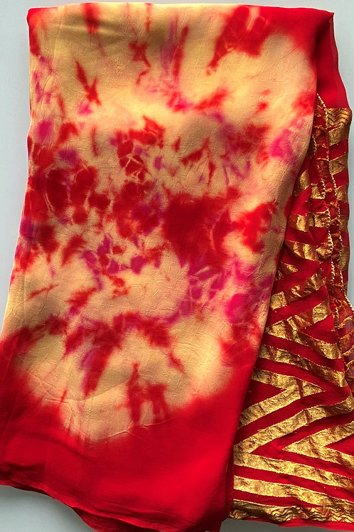 Red Georgette with Chevron Border