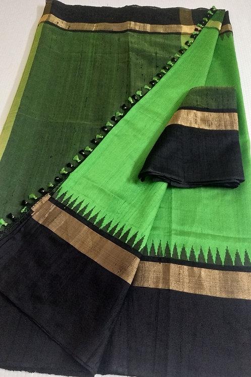 A Vibrant Green Raw Silk Saree