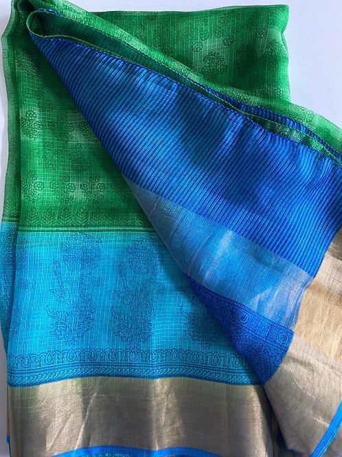 Peacock Blue Kota Doria