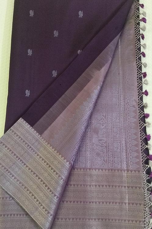 Dark Purple with Violet Contrast Kanchi Soft Silk