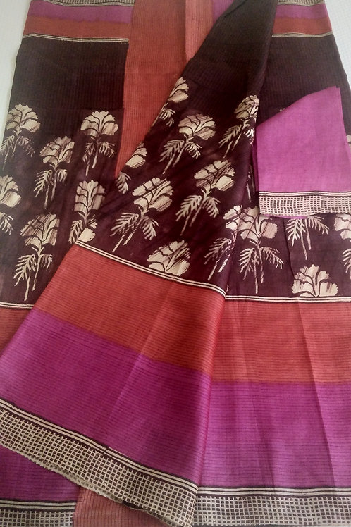 An Ethnic Printed Tussar Silk
