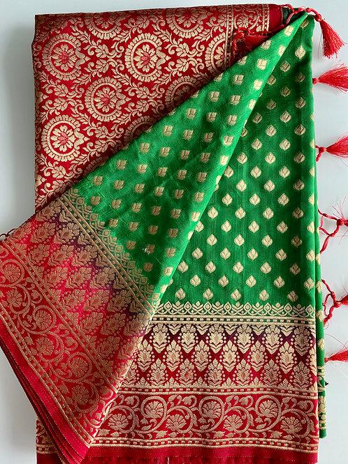 Green Banarasi Style Art Silk Sari