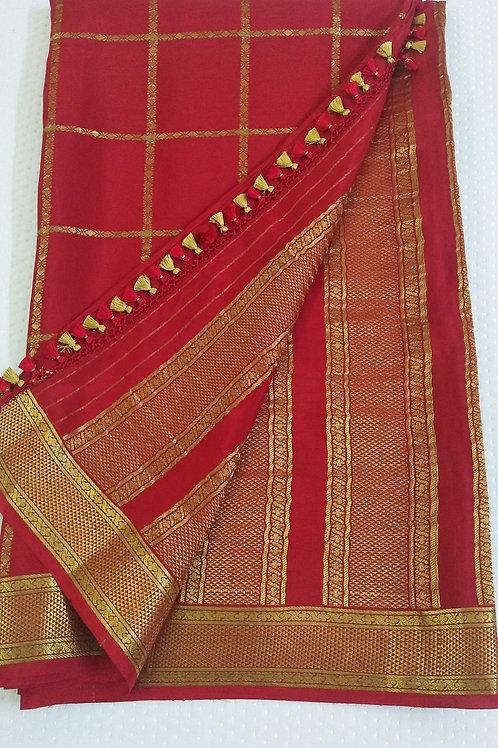 Bright Red Designer Pure Crepe (Mysore) Silk
