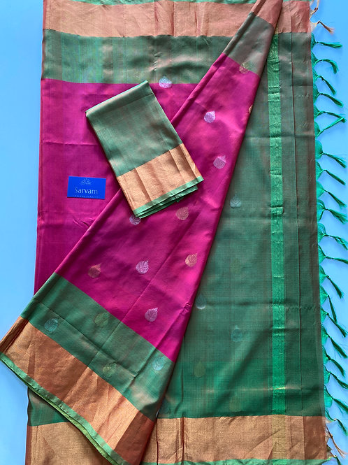 Green and Pink Uppada Silk