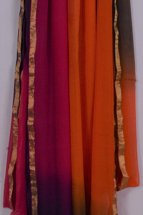 Ombre Multi-Colored Pure Chiffon