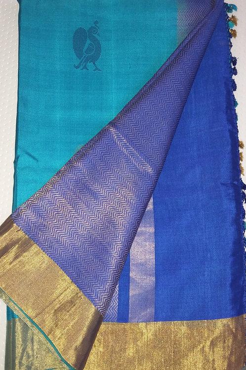 Beautiful Sky blue Tussar Silk
