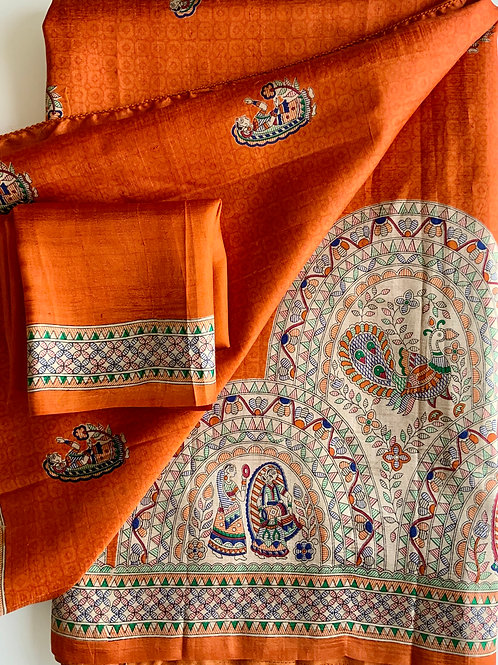 Deep Orange Madhubani Silk Sareee