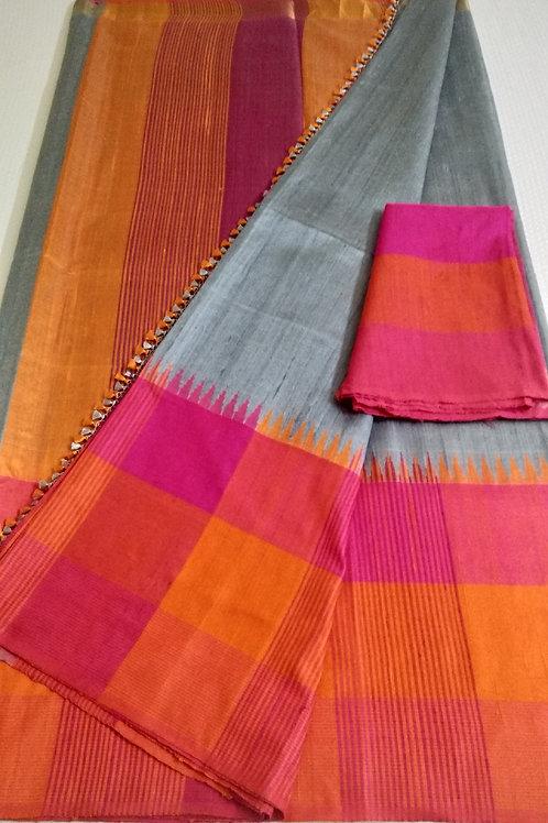 Grey Designer Indian Khadhi Pure Silk