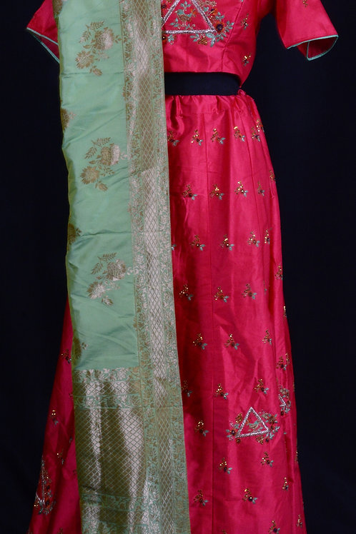 Pink Benarasi Lehenga