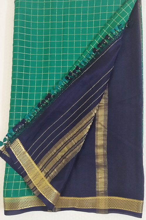 Lovely Sea Green Pure Crepe Silk