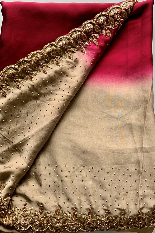 Maroon and Tan Half and Half Georgette